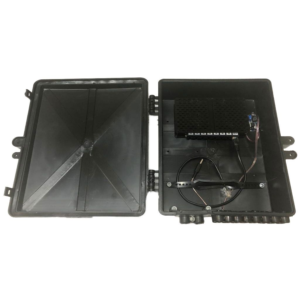 Xwave PobreNet PAC Switch 8 Portas Fast Ethernet com Conversor DC/DC - Caixa Grande 12 - 48V  - ComputechLoja