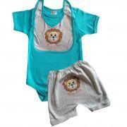 Conjunto Menino Body + shorts + babador Safari Leão
