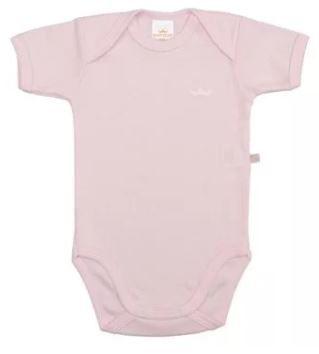 Body Manga Curta Básico Liso  - Rosa Bebê