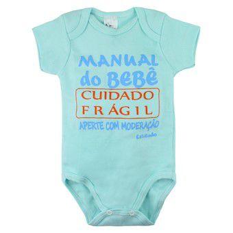 Body Manga Curta Frase do Bebê