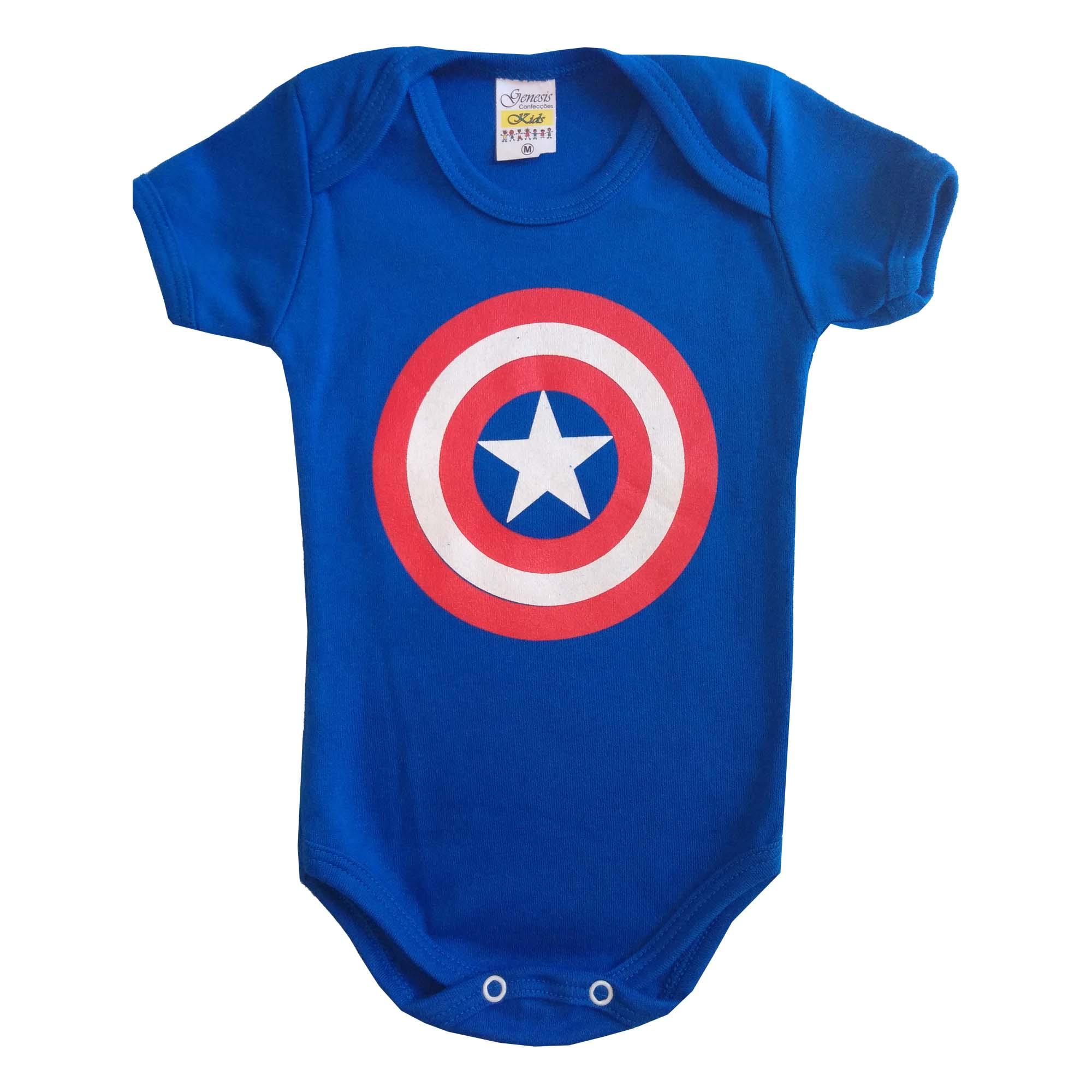 Body menino manga curta Capitão América