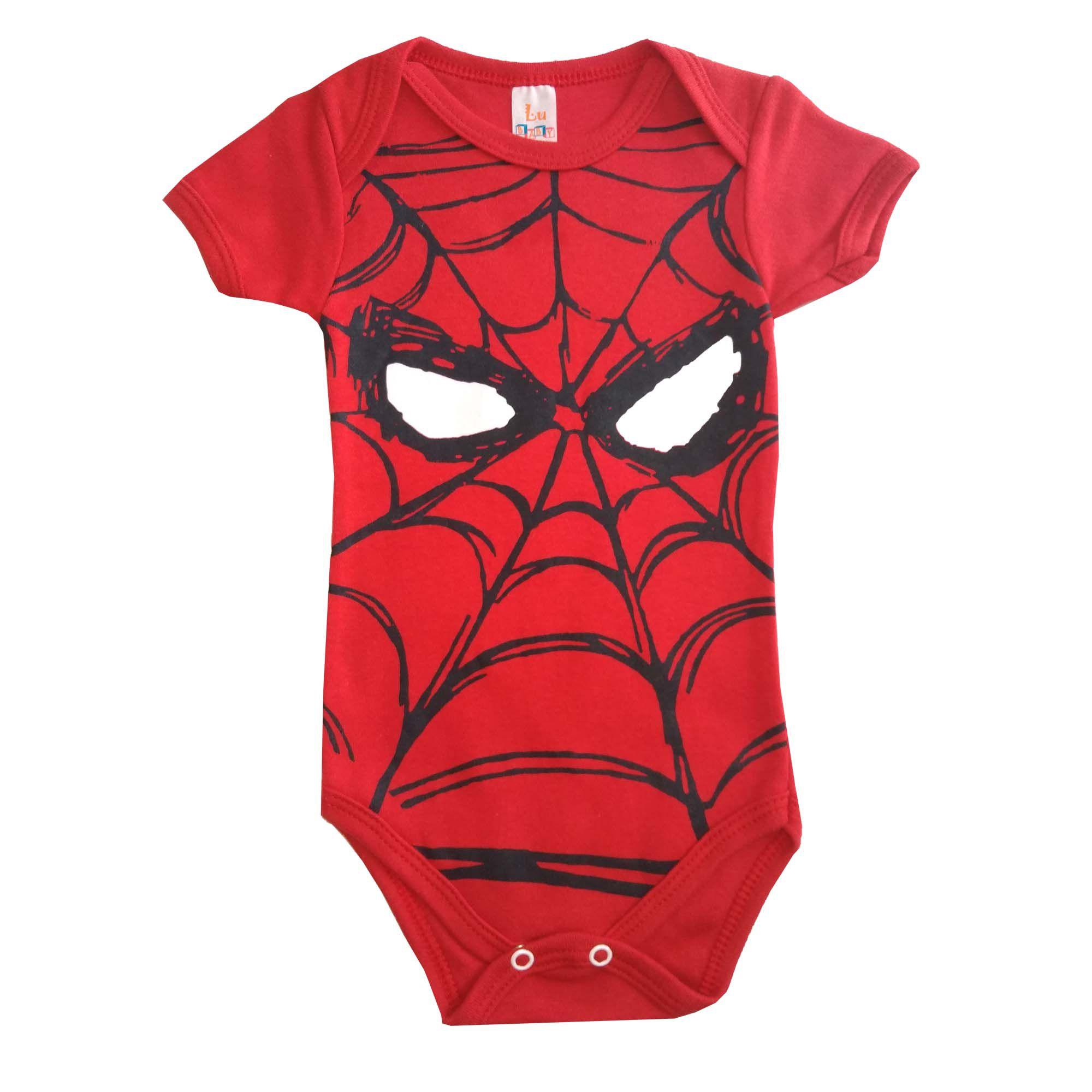 Body menino manga curta Homem Aranha
