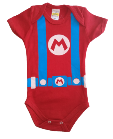 Body menino manga curta Mario Bross (vermelho)