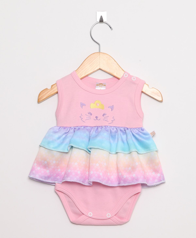 Body Vestido Bebê Rosa