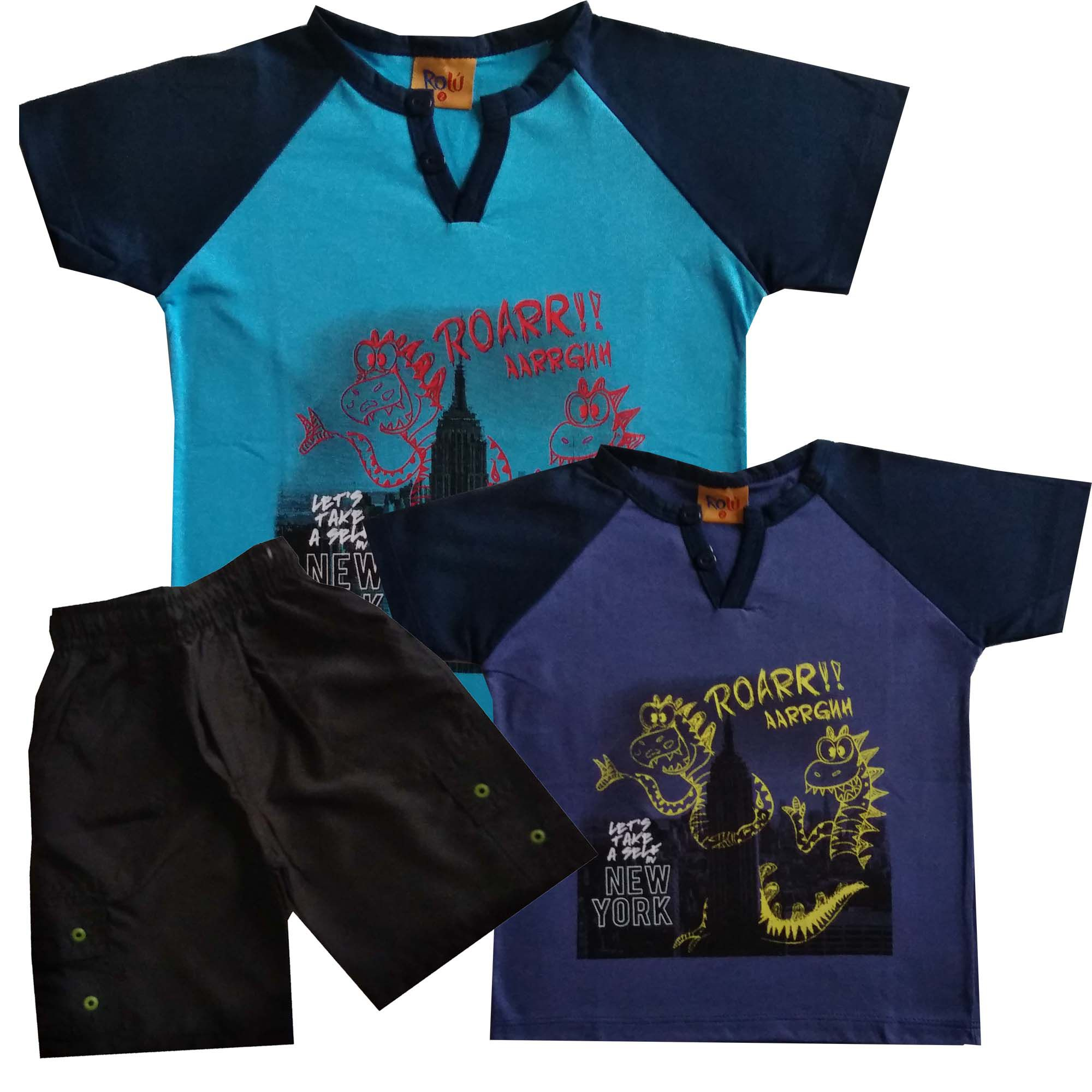 Combo Camisetas Dinossauro + Bermuda -Tamanho 2