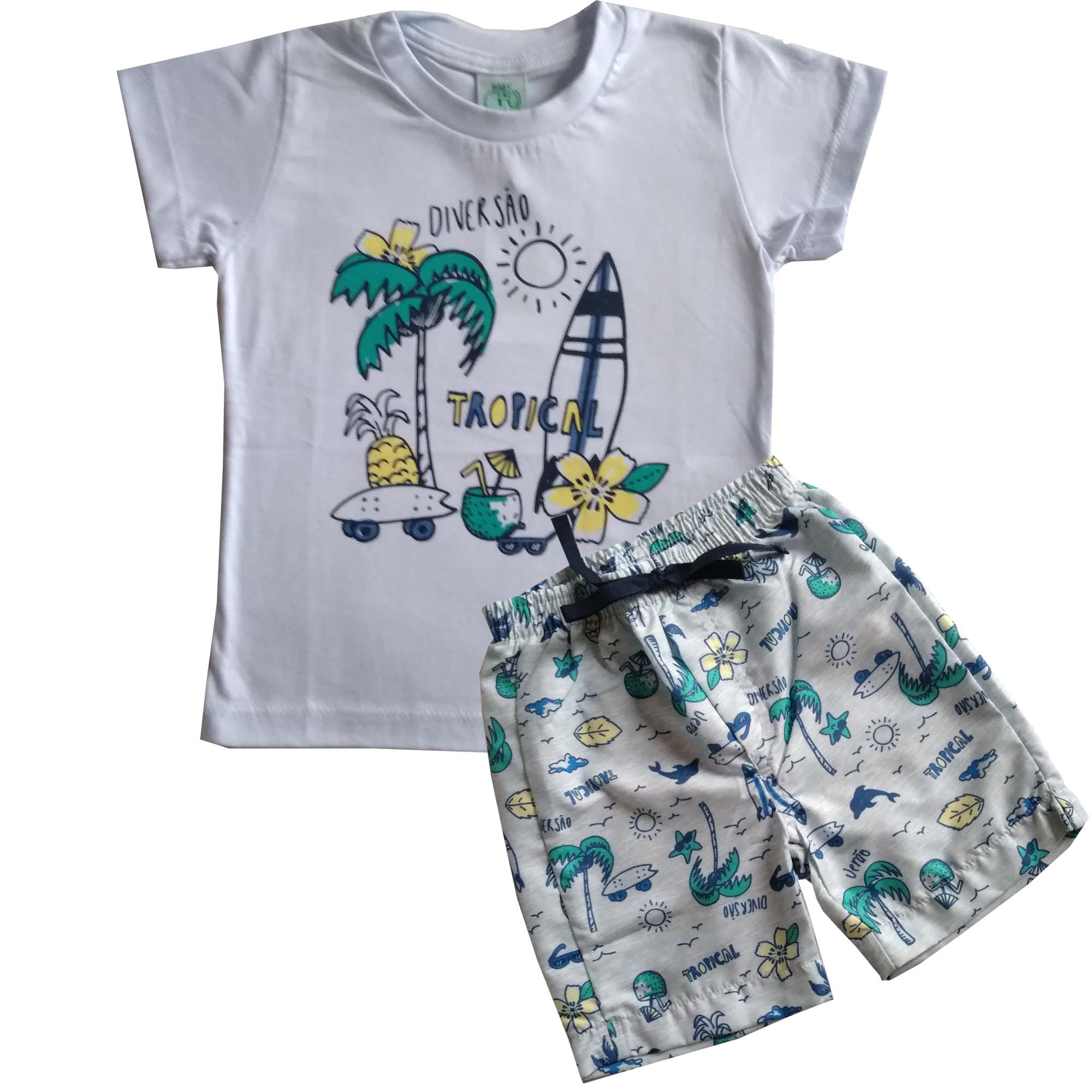 CONJUNTO BABY MENINO ESTAMPA TROPICAL