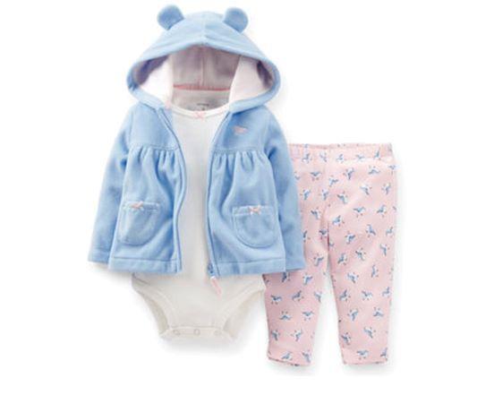 Conjunto Menina Rosa/Azul Carters 3 pç