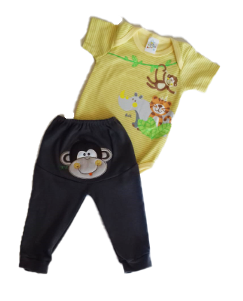 Conjunto Menino 2 peças Macaco bordado e Calça