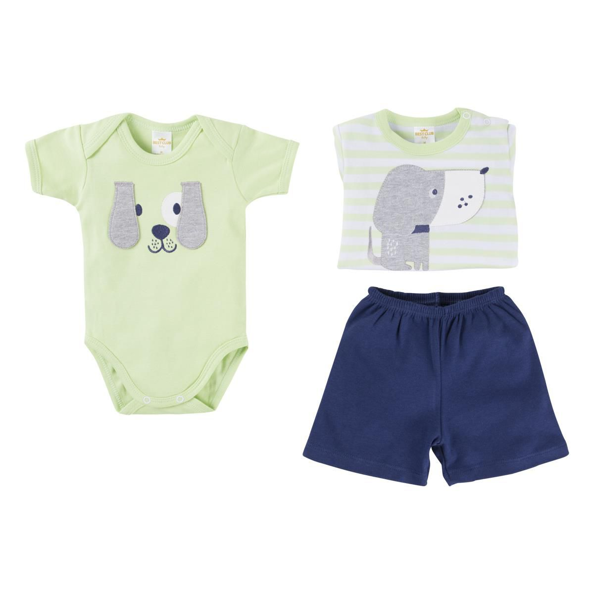 Conjunto Menino Bordado Dog Verde