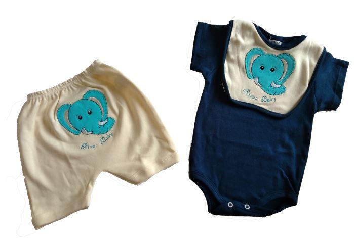 Conjunto Menino Body + shorts + babador Safari Elefante