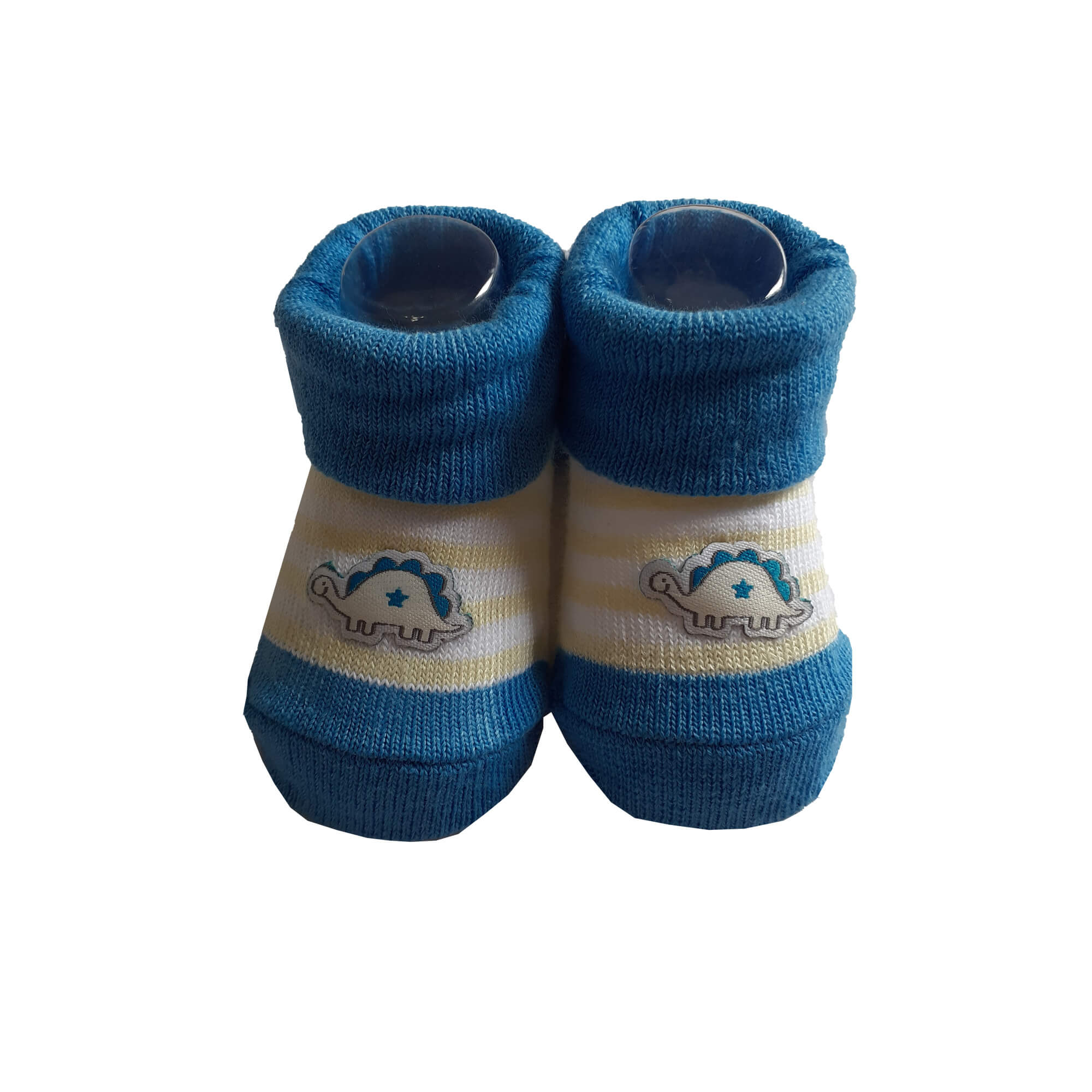 Kit meia bordada menino azul dino
