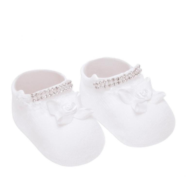Meia Bebe com Lacinho e Strass - 0-5 meses