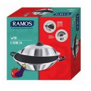 Panela Wok Chinesa Com Tampa - Alumínio Ramos