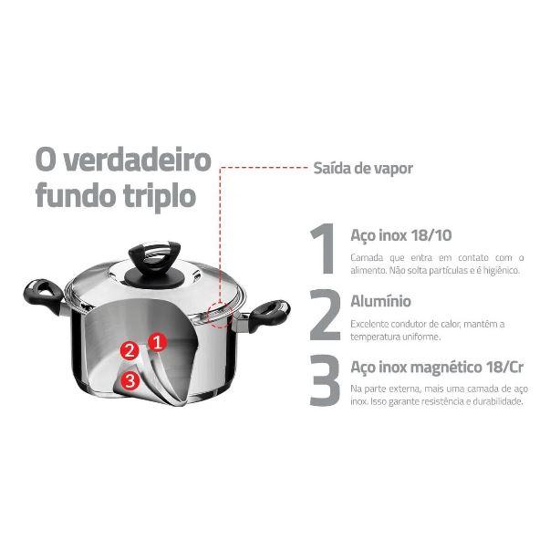CAÇAROLA TRAMONTINA SOLAR BAQUELITE RASA EM AÇO INOX 20 CM 2,9 L - 62723/200
