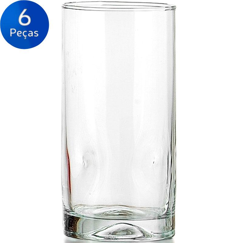 JOGO DE COPOS LONG DRINK PEDRADA 495ML 6 PEÇAS GLOBIMPORT