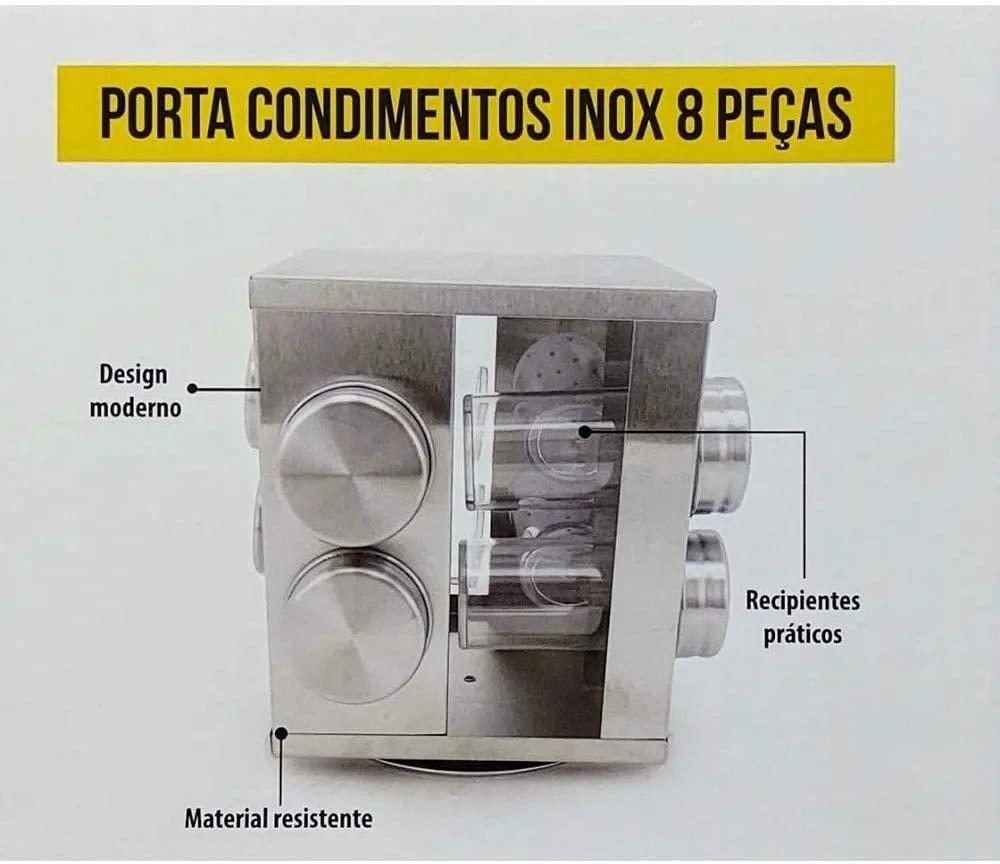 PORTA CONDIMENTO DE VIDRO C/ BASE GIRATÓRIA DE INOX - 6708