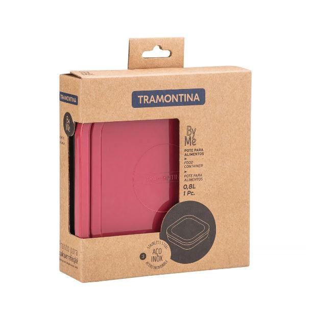 POTE TRAMONTINA FREEZINOX EM AÇO INOX COM TAMPA PLÁSTICA ROSA QUADRADO 16 CM 0,8 L - 61229/565