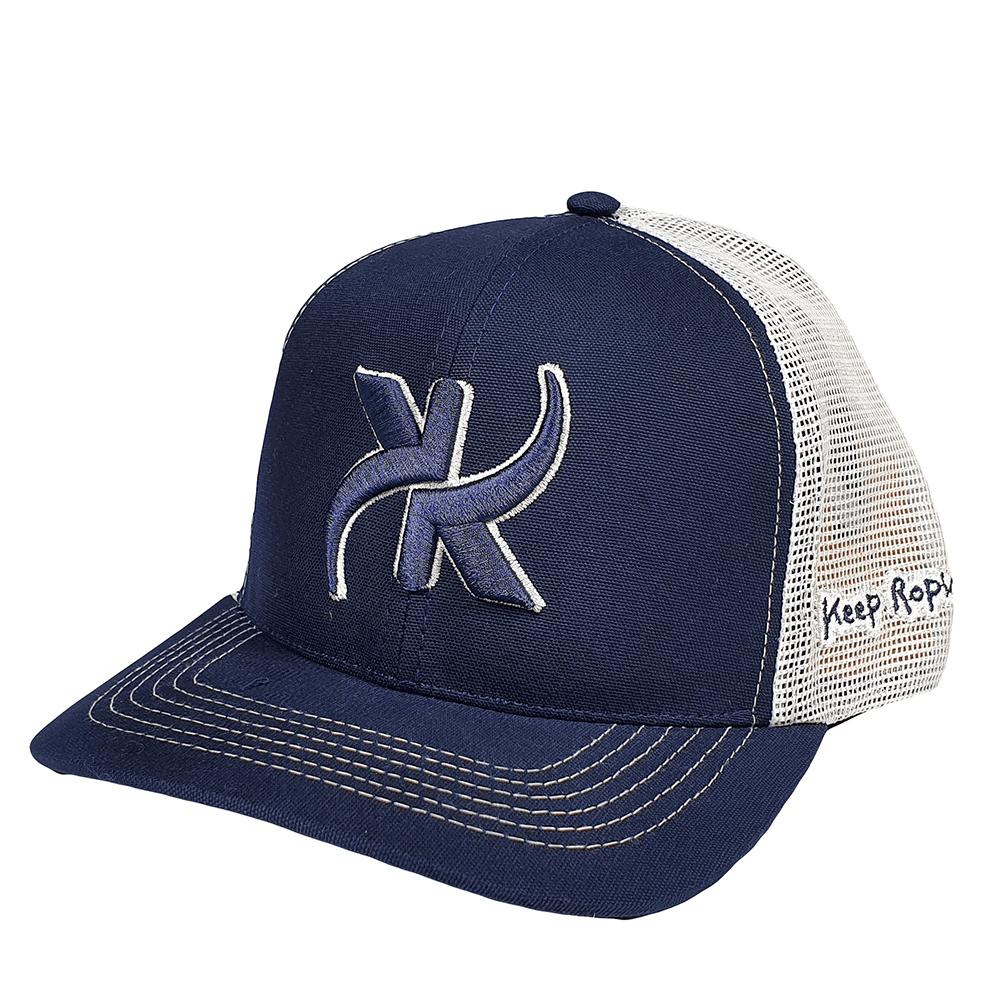 Boné Keep Roping Trucker Hat com aba curva Azul/Branco