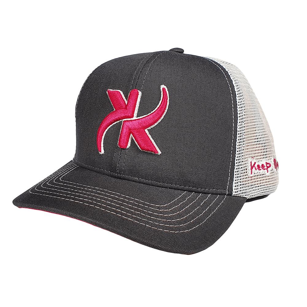 Boné Keep Roping Trucker Hat com aba curva Chumbo/Branco