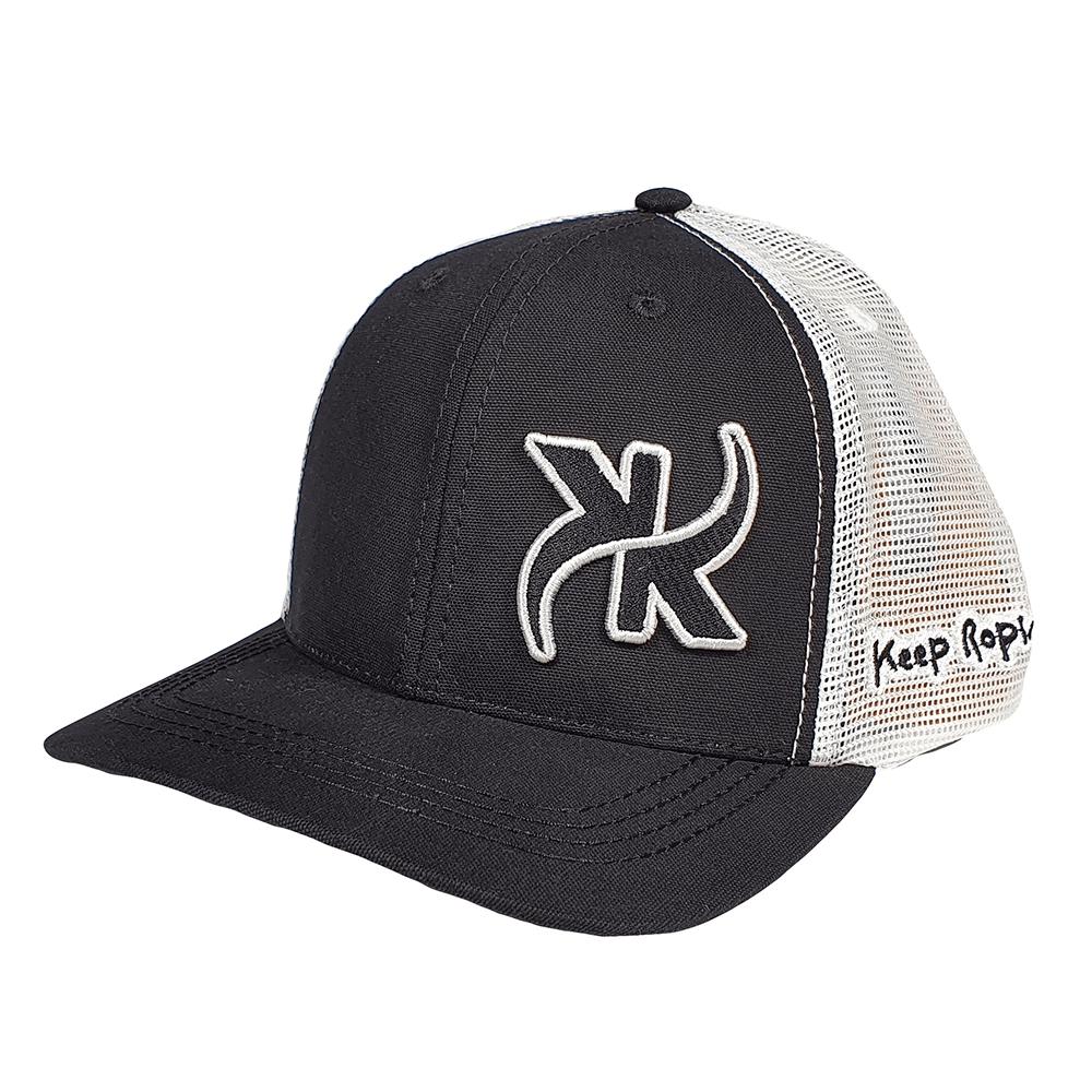 Boné Keep Roping Trucker Hat com aba curva Preto/Branco