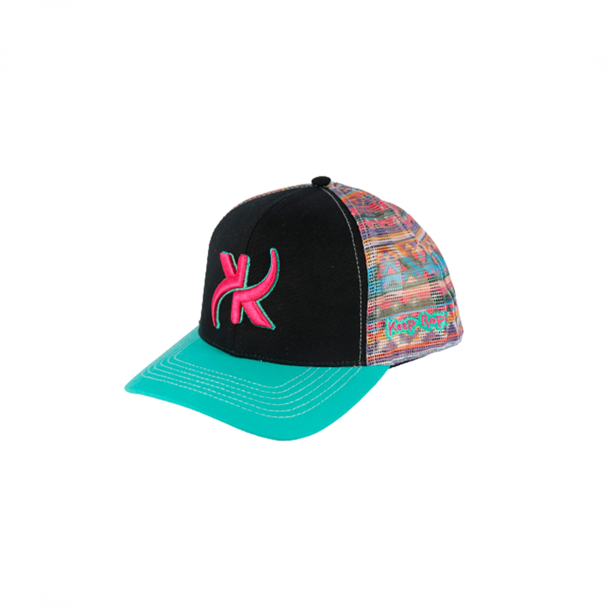 Boné Keep Roping Trucker Hat com aba curva Preto/Sublimado