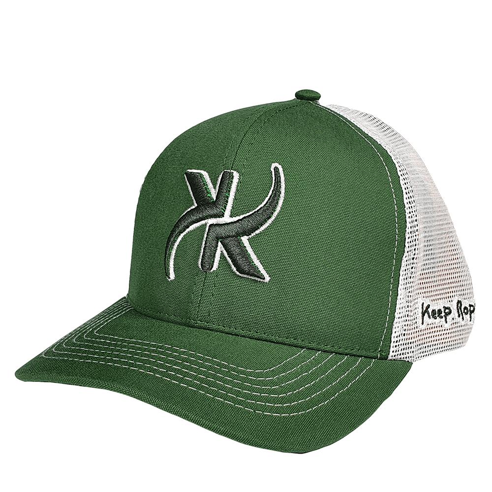 Boné Keep Roping Trucker Hat com aba curva Verde/Branco
