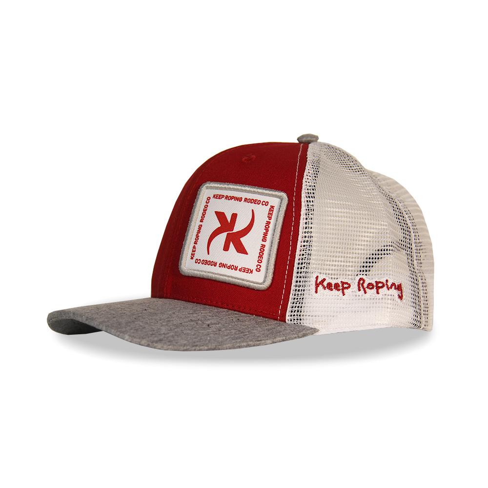 Boné Keep Roping Trucker Hat com aba curva Vermelho/Branco