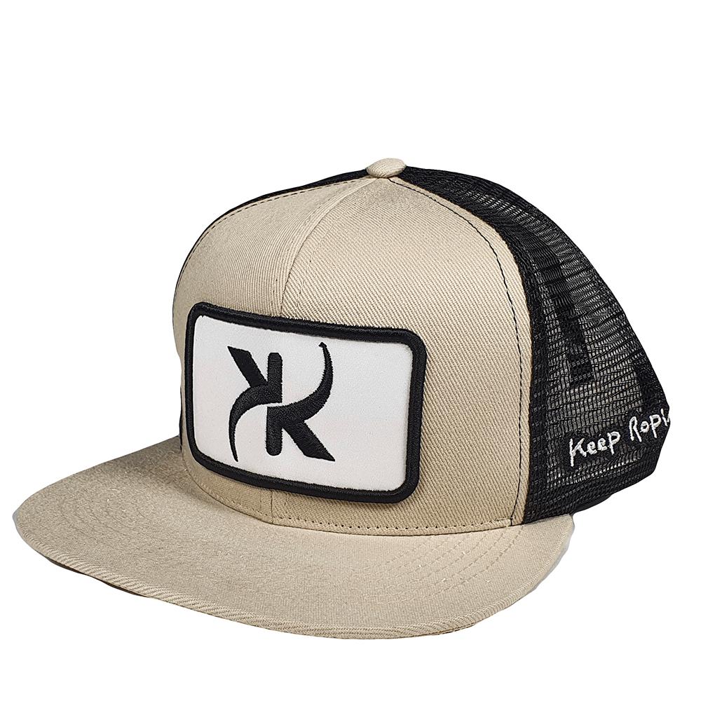 Boné Keep Roping Trucker Hat com aba reta Bege/Preto