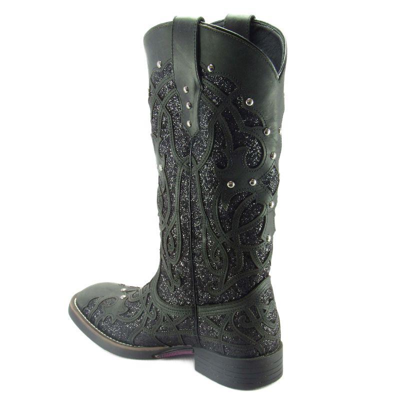 1c4148b1ba6f5 Bota Feminina Preta Bico Quadrado Brilhante Glitter Texana - Cowboy BR