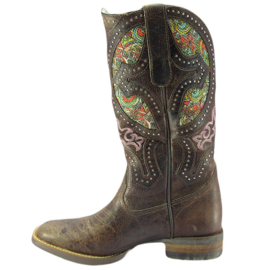 e338a98054f25 Bota Goyazes Feminina Texana Bico Quadrado Dallas Tabaco - Cowboy BR