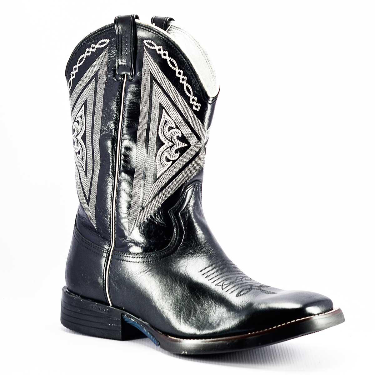 Bota West Country Preta Texana Bico Quadrado - 5129 - Cowboy BR b1c56dcc240