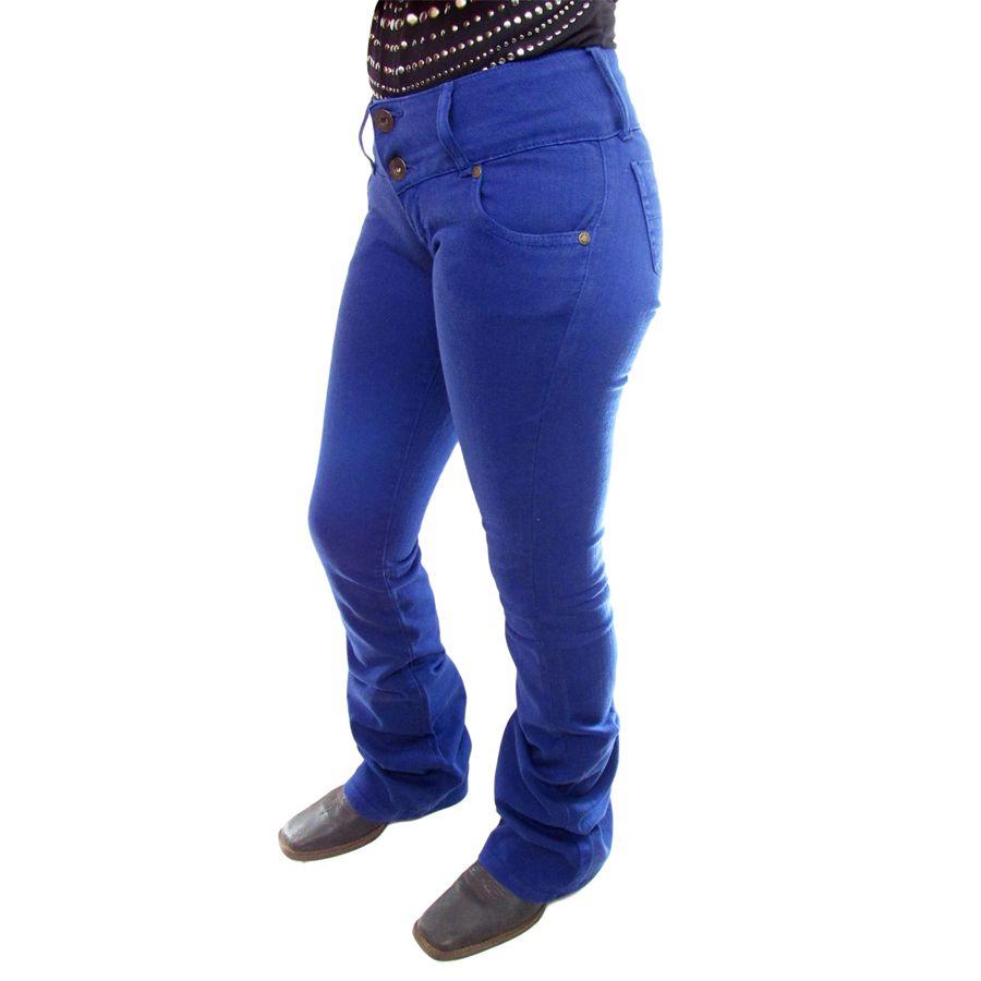 Calça Feminina Flare Azul Klein Country Os Vaqueiros C0002