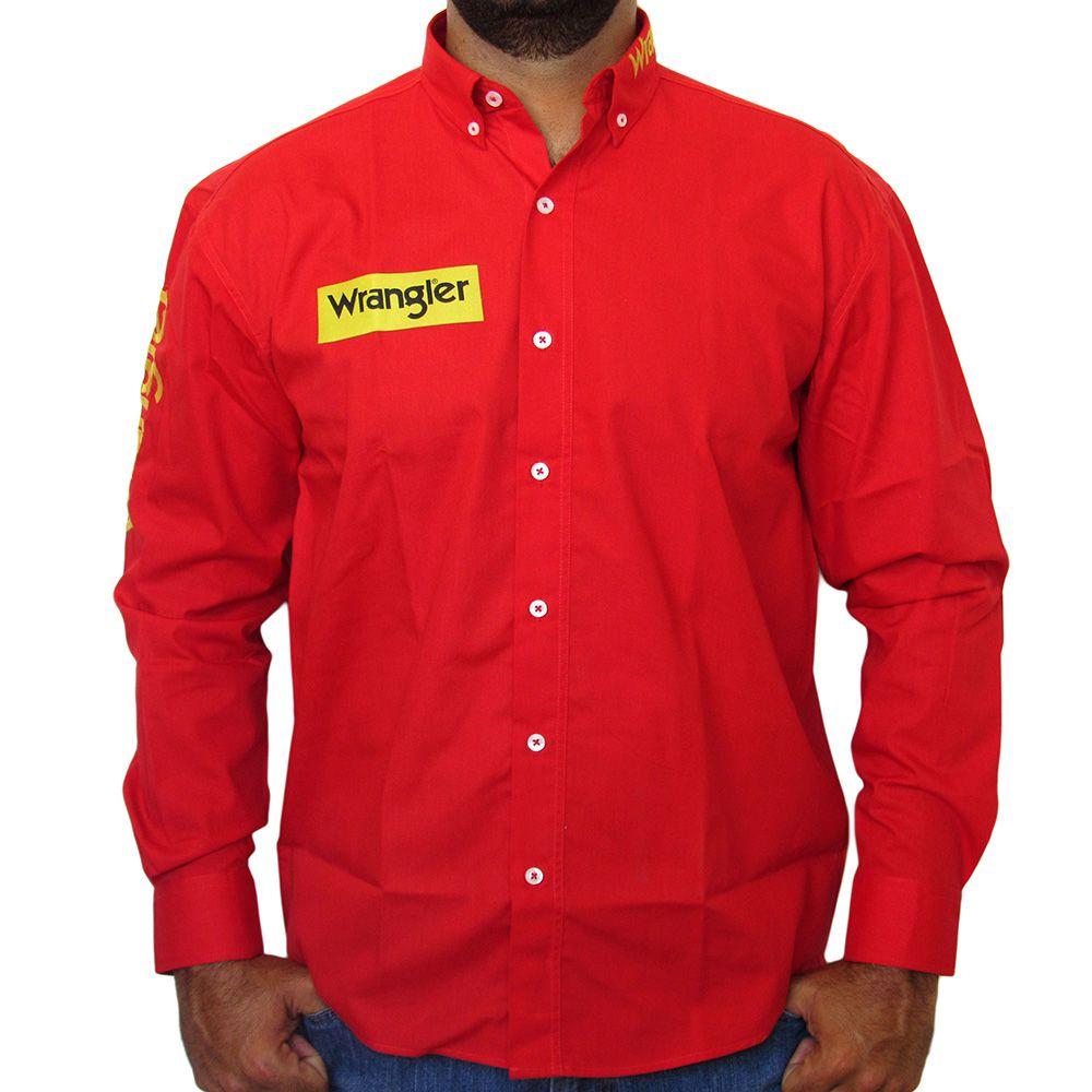 Camisa Wrangler Vermelha Manga Longa Western Top 8009