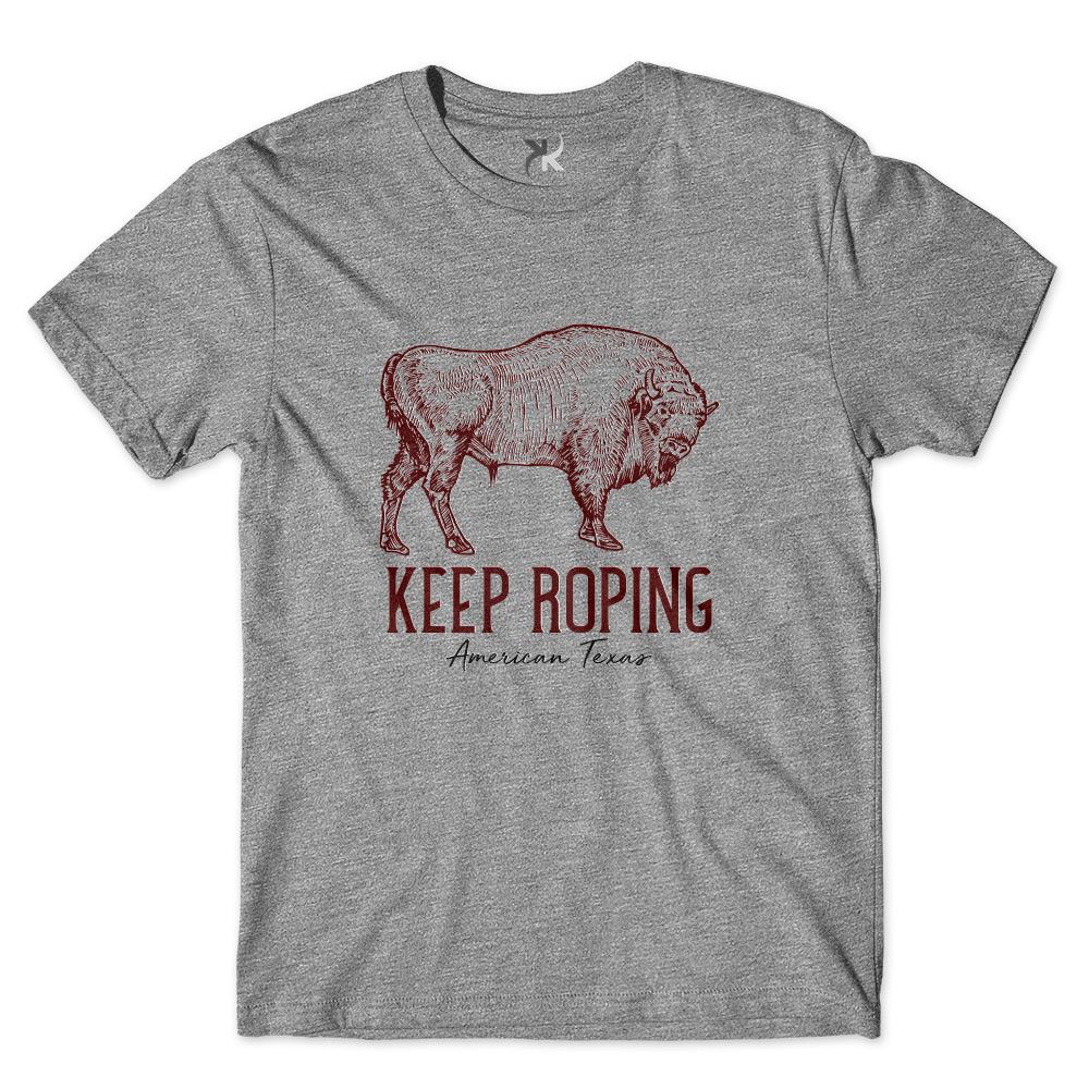Camiseta Masculina Keep Roping Bisão Americano