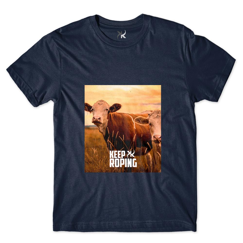 Camiseta Masculina Keep Roping Novilha Por do Sol