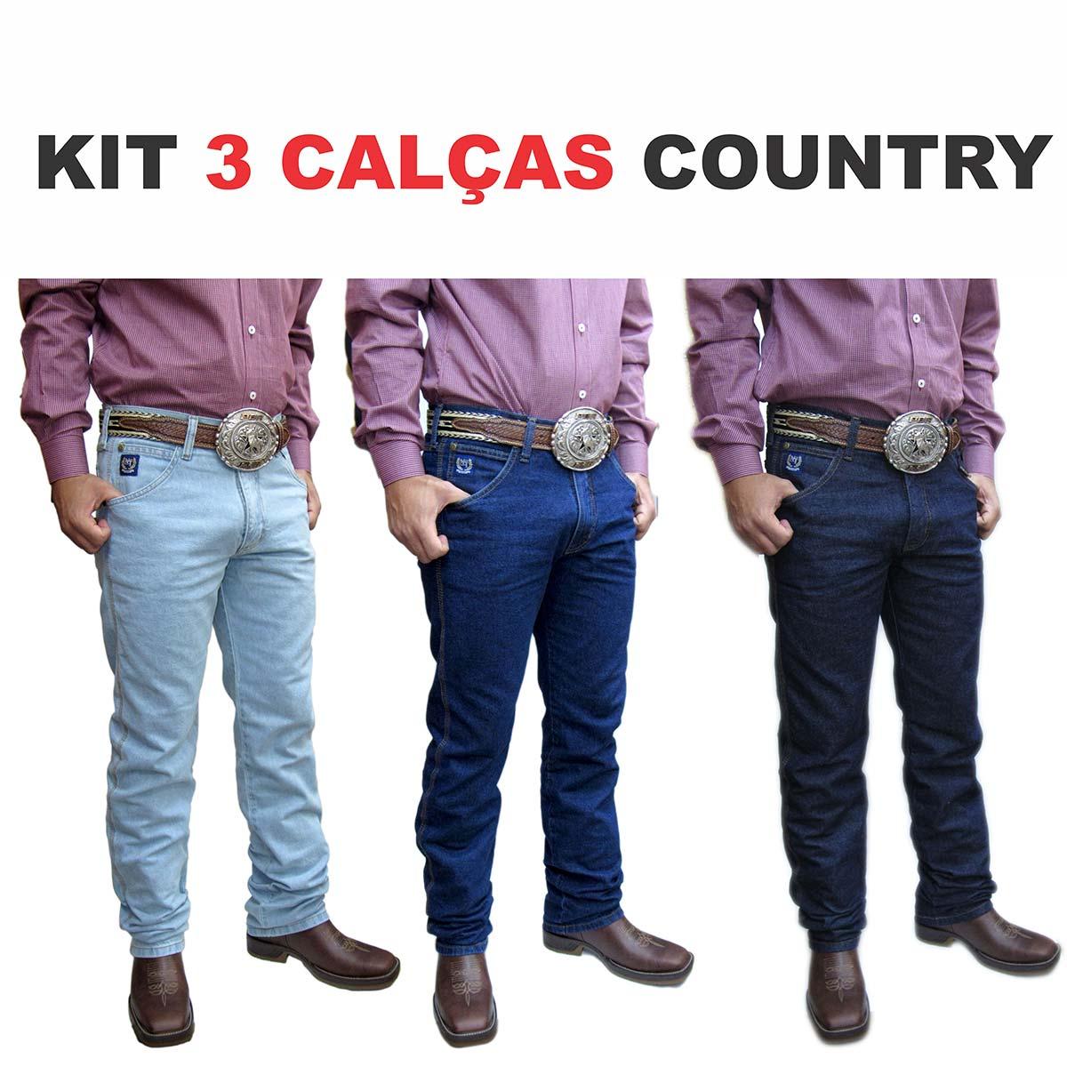 53ea34030 Kit 3 Calças Jeans Country Masculina Nossa Terra Farm Tradicional ...