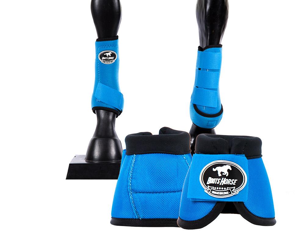 Kit Cloche e Caneleira Azul Turqueza Boots Horse