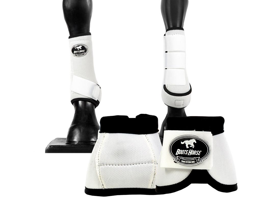 Kit Cloche e Caneleira Branco Boots Horse
