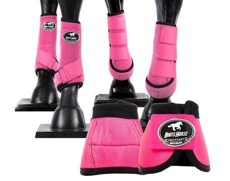 Kit Cloche e Caneleira Completo Rosa Boots Horse