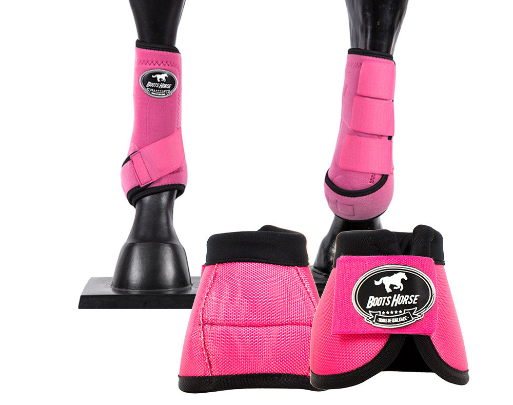 Kit Cloche e Caneleira Rosa Boots Horse