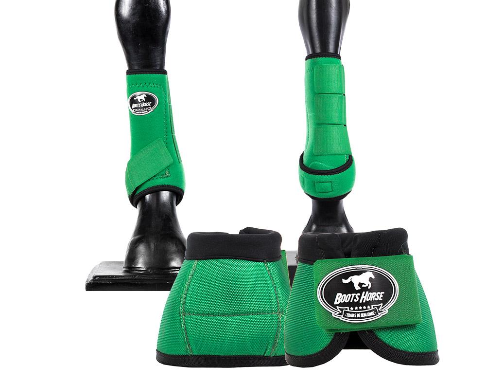 Kit Cloche e Caneleira Verde Boots Horse