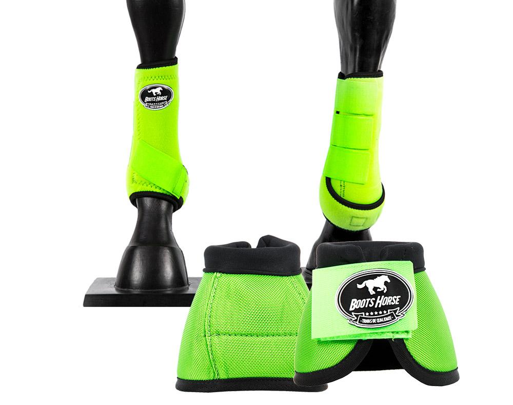 Kit Cloche e Caneleira Verde Limão Boots Horse