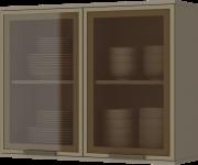 Armário Aéreo de Cozinha Modulada 2 Portas com Vidro 80cm Connect Henn
