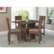 Conjunto de Mesa de Jantar Talita com 4 Cadeiras Cor Noce Assento Estofado Linho - Indekes