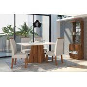Conjunto de Mesa Parma 1,20m  e 4 Cadeiras Áureas - DJ Móveis