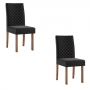 Conjunto 2 cadeiras Dália Nogal tecido veludo preto - Sonetto