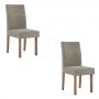Conjunto 2 cadeiras Dália Nogal tecido veludo cinza - Sonetto