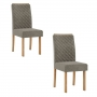 Conjunto 2 cadeiras Elegance Mel com tecido veludo cinza - Sonetto