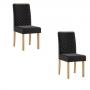 Conjunto 2 cadeiras Elegance Mel com tecido veludo preto - Sonetto