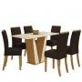 Conjunto de Mesa de Jantar Garda com Tampo de Vidro 160cm Com 6 Cadeiras Vita - Henn